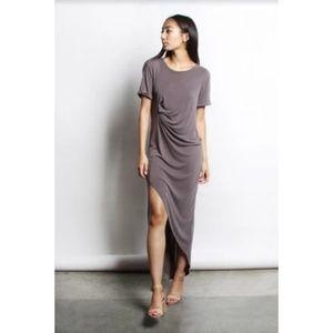 Mod Ref Dusty Rose Asymmetrical Maxi Dress